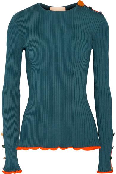 Roksanda - Rhea Embellished Ribbed Stretch-knit Sweater - Petrol