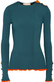 Roksanda Rhea embellished ribbed stretch-knit sweater