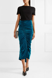 Sophie gathered stretch-velvet midi skirt