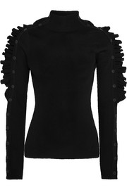 Preen by Thornton Bregazzi Alexx ruffled ribbed wool sweater