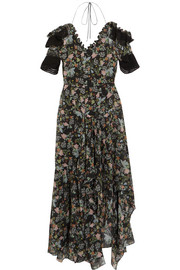 Preen by Thornton Bregazzi Dana ruffled floral-print silk-georgette midi dress