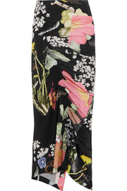 Lennox ruched floral-print stretch-crepe midi skirt
