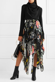 Alanis asymmetric printed devoré silk-blend chiffon skirt