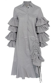 Preen by Thornton Bregazzi Shona ruffled striped cotton shirt dress
