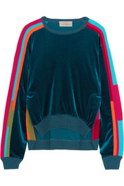 Preen by Thornton Bregazzi Anouk color-block velour and cotton-blend sweatshirt