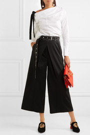 Proenza Schouler Grosgrain-trimmed asymmetric cotton-poplin top