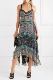 Proenza Schouler Tiered printed silk-georgette maxi dress