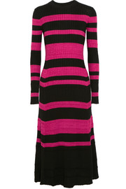 Proenza Schouler Striped ribbed wool-blend midi dress