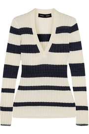 Striped ribbed wool-blend sweater