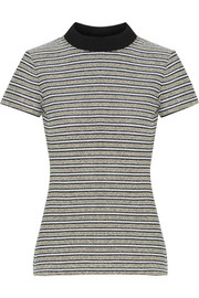 Ribbed jersey-trimmed striped cotton-blend bouclé top