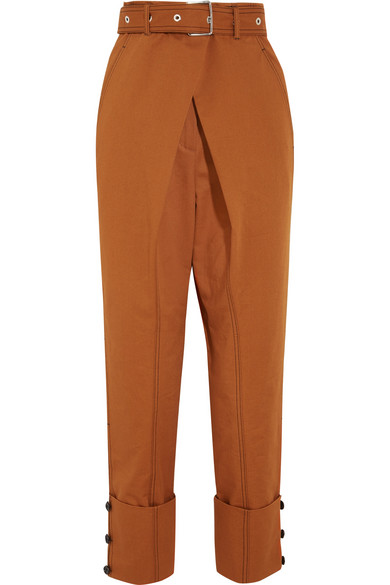 Proenza Schouler - Belted Cotton-twill Pants - Brown