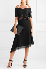 Proenza Schouler Cropped cold-shoulder tweed top