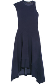 Asymmetric double-faced jersey dress