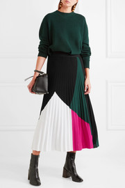 Proenza Schouler Color-block pleated knitted midi skirt