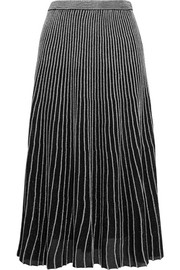 Proenza Schouler Two-tone ribbed Lurex midi skirt