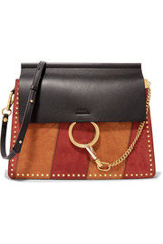 Faye medium studded suede and leather shoulder bag