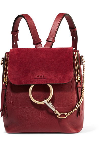 880845850819 Chloé. Faye small leather and suede backpack
