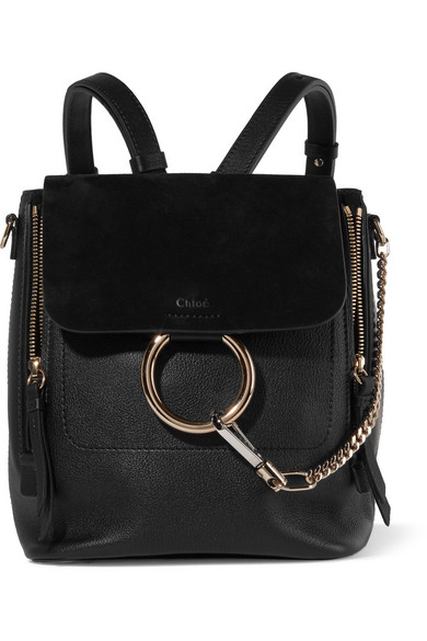 Faye Small Textured-Leather And Suede Backpack in Black