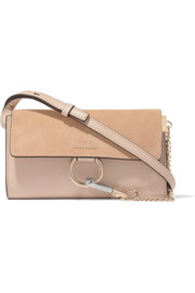 Chloé Faye mini suede and leather shoulder bag