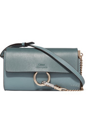 Faye mini smooth and textured-leather shoulder bag