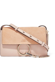 Faye small leather and suede shoulder bag
