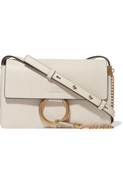 Faye small textured-leather shoulder bag