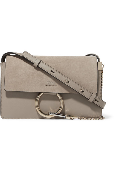 chloe female chloe faye small leather and suede shoulder bag gray