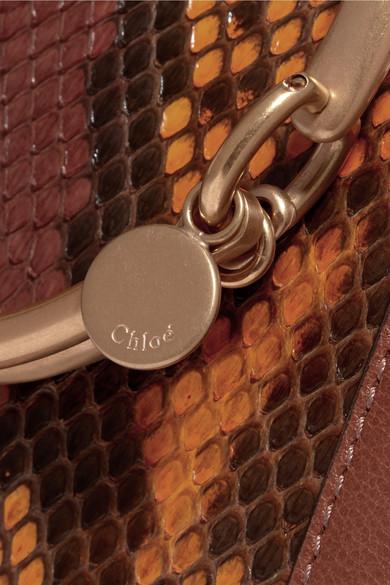 Chloé Nile kleine Schultertasche aus Pythonleder mit Lederbesatz
