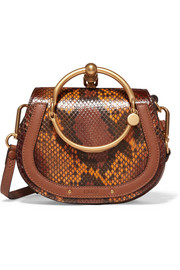 Nile small leather-trimmed python shoulder bag