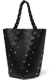 Hex embellished leather tote