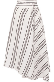 Rosehip asymmetric striped linen and silk-blend wrap midi skirt