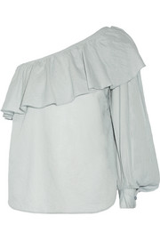 Bergamot one-shoulder ruffled cotton-voile top