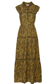 APIECE APART Wild Reed printed cotton and silk-blend maxi dress