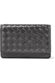 Bottega Veneta Metallic intrecciato leather cardholder