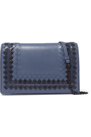 Bottega Veneta Snake-trimmed intrecciato leather shoulder bag