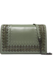 Intrecciato leather and snake shoulder bag