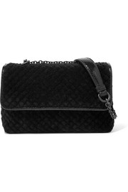 Olimpia watersnake-trimmed intrecciato velvet shoulder bag