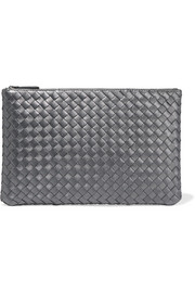 Metallic intrecciato leather pouch
