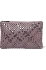 Bottega Veneta Intrecciato leather and snake clutch