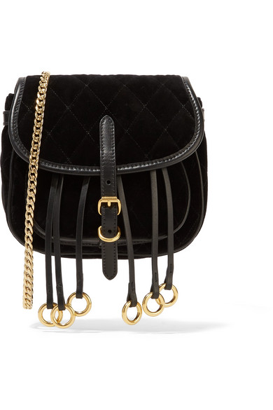a06c34034bda Prada | Leather-trimmed quilted velvet belt bag | NET-A-PORTER.COM