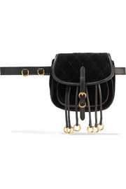 Prada Leather-trimmed quilted velvet belt bag