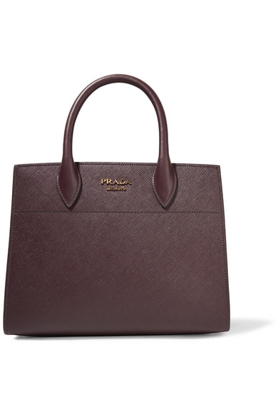 Prada - Bibliothèque Textured-leather Tote - Burgundy at NET-A-PORTER