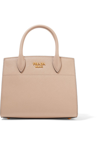 Prada - Bibliothèque Small Textured-leather Tote - Taupe at NET-A-PORTER