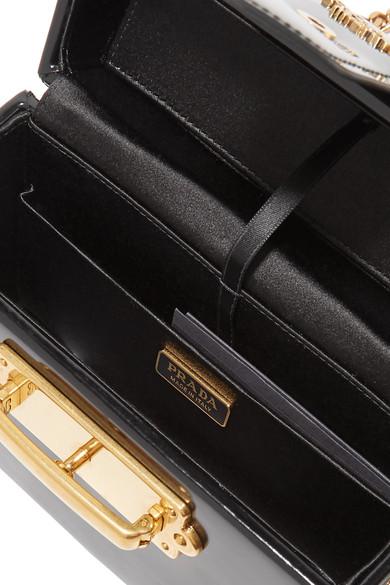 Prada Cahier Box Shoulder Bag Made Of Patent Leather
