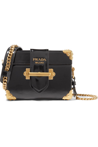 695a4c41a5fa Prada. Cahier Box patent-leather shoulder bag