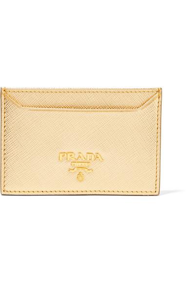 Metallic Textured-Leather Cardholder Prada qD6S6M9Uz