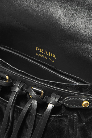 32bc2f19a79f Prada. Messenger leather-trimmed quilted velvet shoulder bag. £562.38. Zoom  In