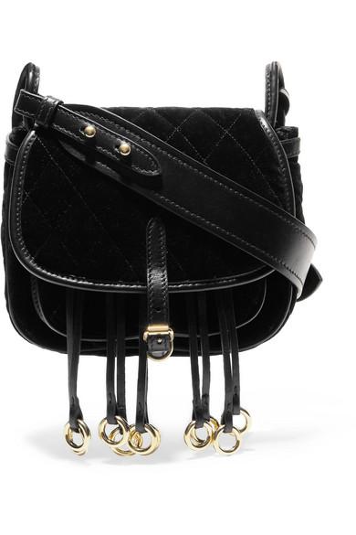 c85a7a5ca735 Prada. Messenger leather-trimmed quilted velvet shoulder bag
