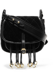 Prada Messenger leather-trimmed quilted velvet shoulder bag