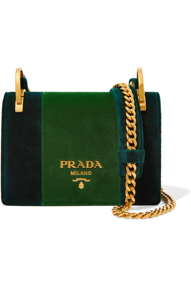 1efd7603c3103b france lyst prada cahier box velvet shoulder bag in green 7aa8f 56309;  norway prada. pattina velvet shoulder bag 66771 5933c